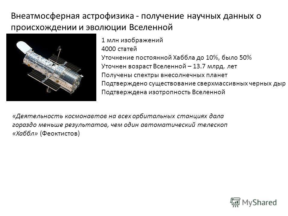 «Деятельность космонавтов на всех орбитальных станциях дала гораздо меньше результатов, чем один автоматический телескоп «Хаббл» (Феоктистов) 1 млн изображений 4000 статей Уточнение постоянной Хаббла до 10%, было 50% Уточнен возраст Вселенной – 13.7