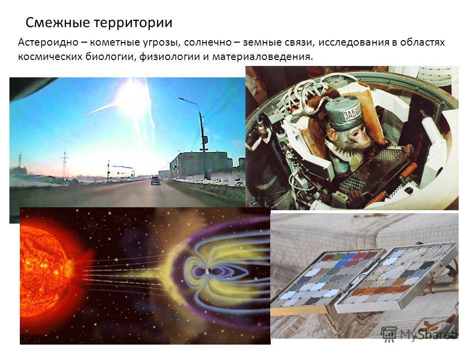 Смежные территории Астероидно – кометные угрозы, солнечно – земные связи, исследования в областях космических биологии, физиологии и материаловедения.