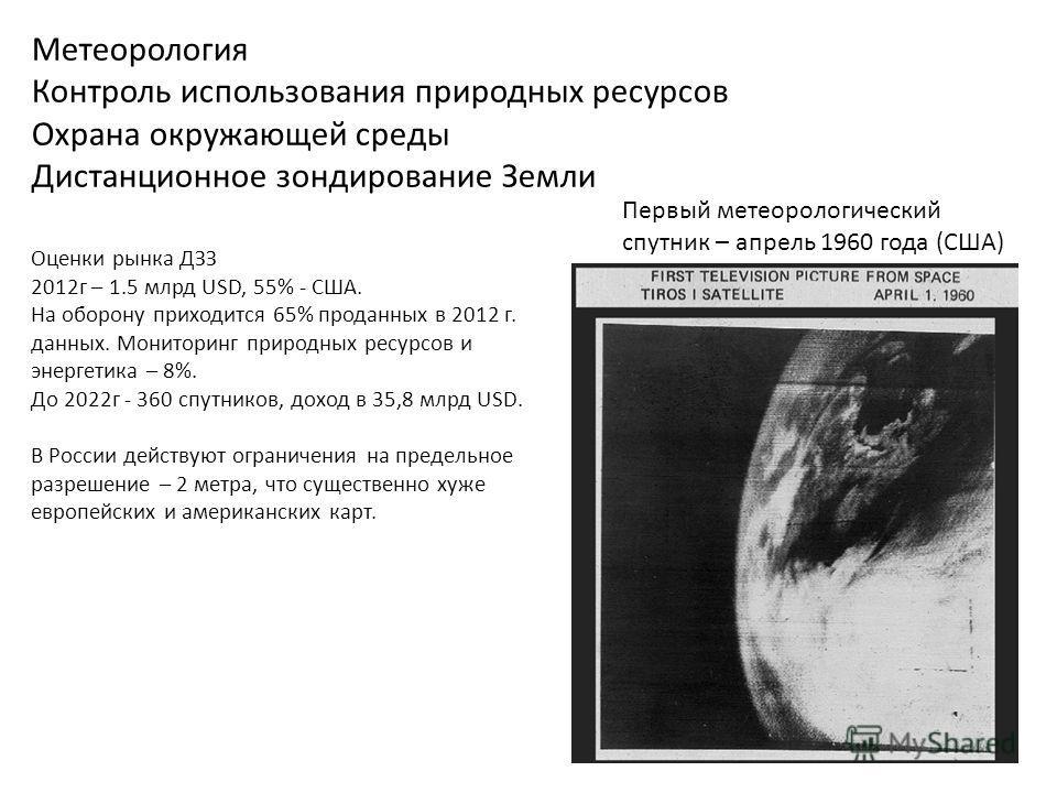 Метеорология Контроль использования природных ресурсов Охрана окружающей среды Дистанционное зондирование Земли Первый метеорологический спутник – апрель 1960 года (США) Оценки рынка ДЗЗ 2012 г – 1.5 млрд USD, 55% - США. На оборону приходится 65% про