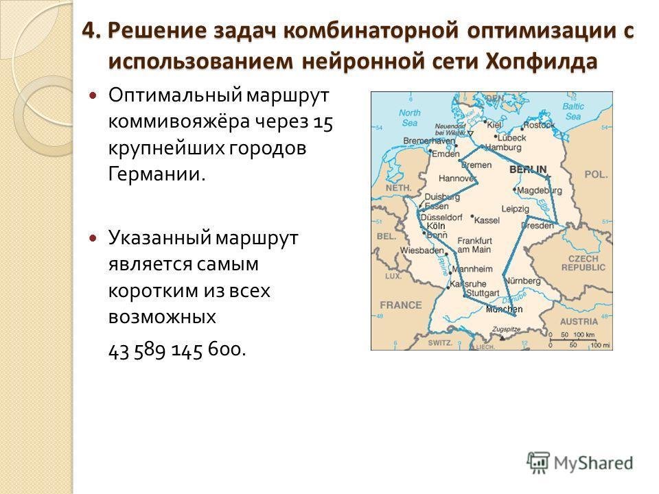 4. Решение задач комбинаторной оптимизации с использованием нейронной сети Хопфилда Оптимальный маршрут коммивояжёра через 15 крупнейших городов Германии. Указанный маршрут является самым коротким из всех возможных 43 589 145 600.