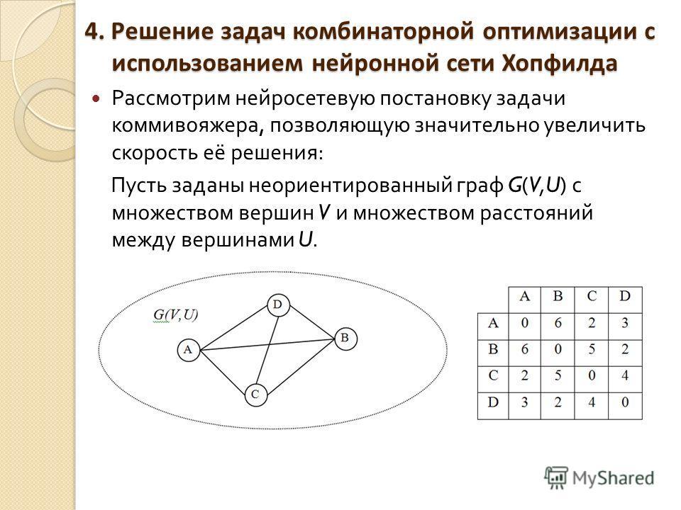 4. Решение задач комбинаторной оптимизации с использованием нейронной сети Хопфилда Рассмотрим нейросетевую постановку задачи коммивояжера, позволяющую значительно увеличить скорость её решения : Пусть заданы неориентированный граф G(V,U) с множество