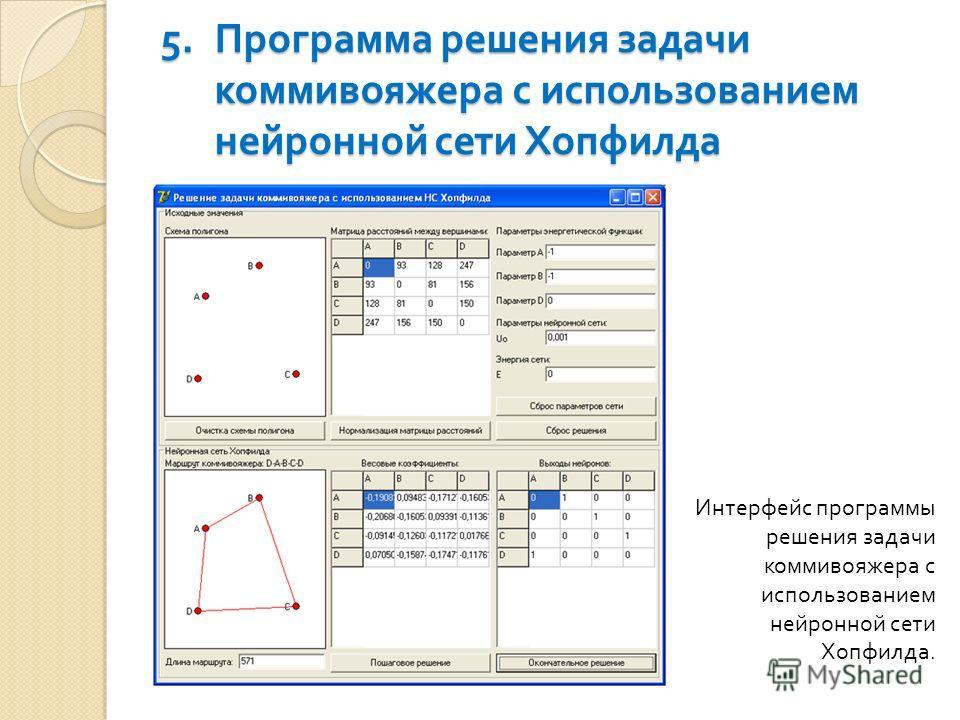 5. Программа решения задачи коммивояжера с использованием нейронной сети Хопфилда Интерфейс программы решения задачи коммивояжера с использованием нейронной сети Хопфилда.