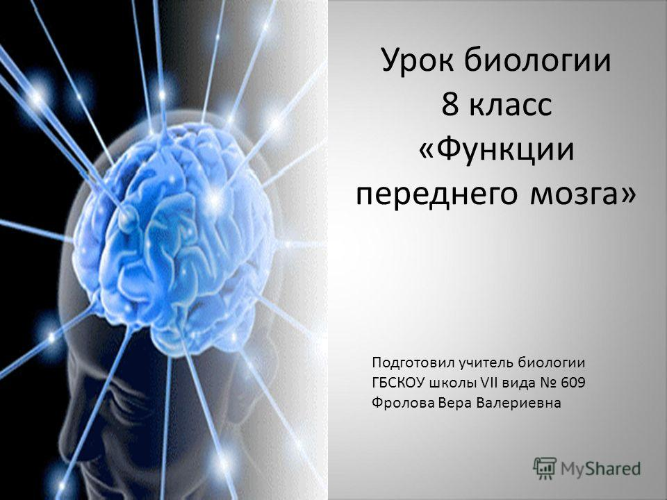 Урок биологии 8 класс «Функции переднего мозга» Подготовил учитель биологии ГБСКОУ школы VII вида 609 Фролова Вера Валериевна