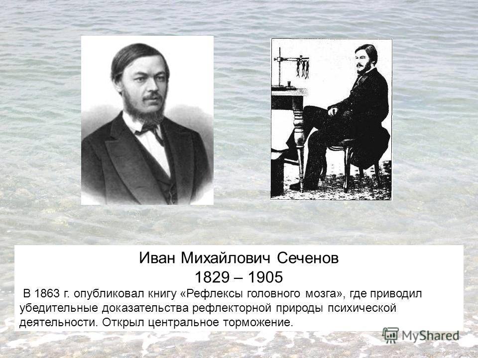 Иван Михайлович Сеченов 1829 – 1905 В 1863 г. опубликовал книгу «Рефлексы головного мозга», где приводил убедительные доказательства рефлекторной природы психической деятельности. Открыл центральное торможение.