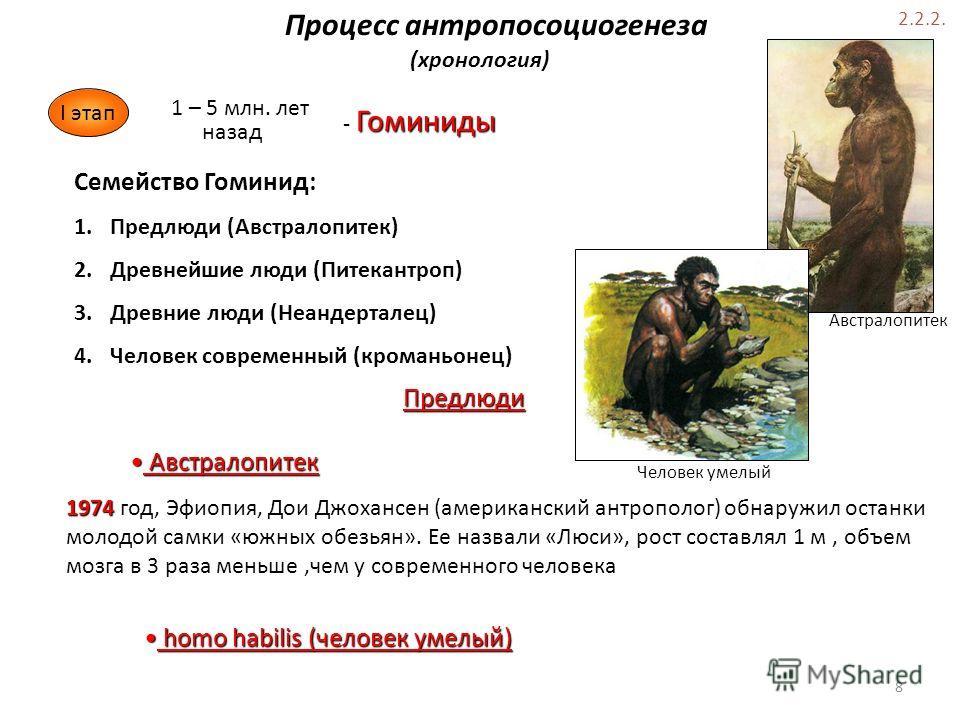 Процесс антропосоциогенеза (хронология) I этап 1 – 5 млн. лет назад Гоминиды - Гоминиды Семейство Гоминид: 1. Предлюди (Австралопитек) 2. Древнейшие люди (Питекантроп) 3. Древние люди (Неандерталец) 4. Человек современный (кроманьонец) 1974 1974 год,