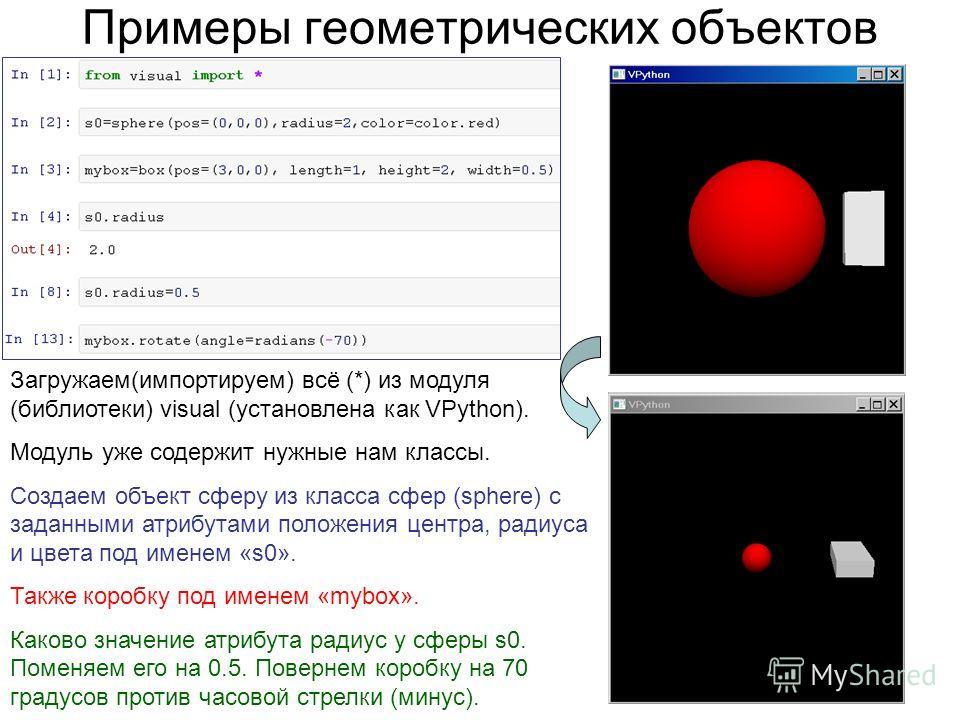 Примеры геометрических объектов Загружаем(импортируем) всё (*) из модуля (библиотеки) visual (установлена как VPython). Модуль уже содержит нужные нам классы. Создаем объект сферу из класса сфер (sphere) с заданными атрибутами положения центра, радиу