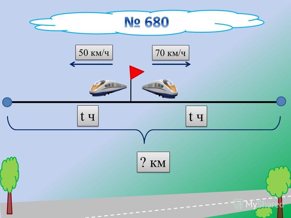 70 км/ч 50 км/ч ? км t ч