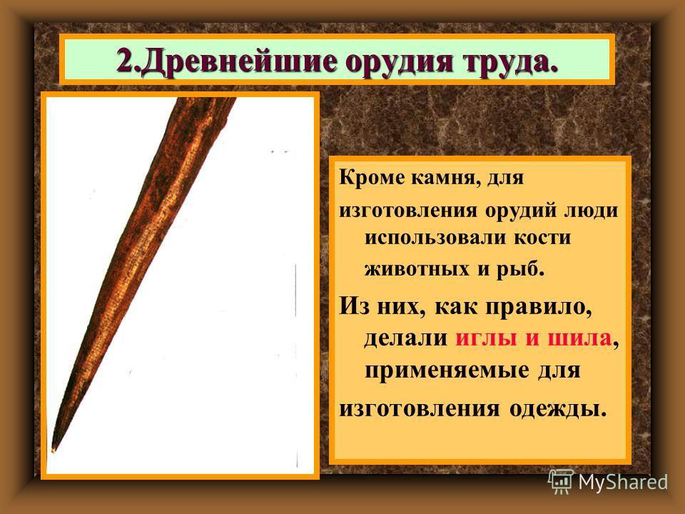 Кроме камня, для изготовления орудий люди использовали кости животных и рыб. Из них, как правило, делали иглы и шила, применяемые для изготовления одежды. 2. Древнейшие орудия труда.