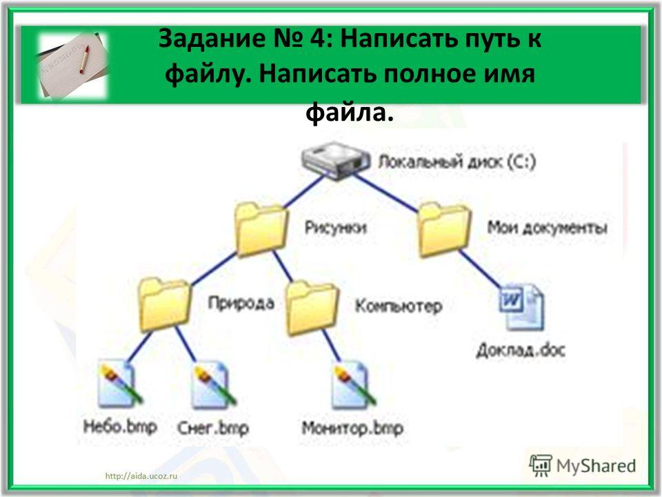 Задание 4: Написать путь к файлу. Написать полное имя файла.
