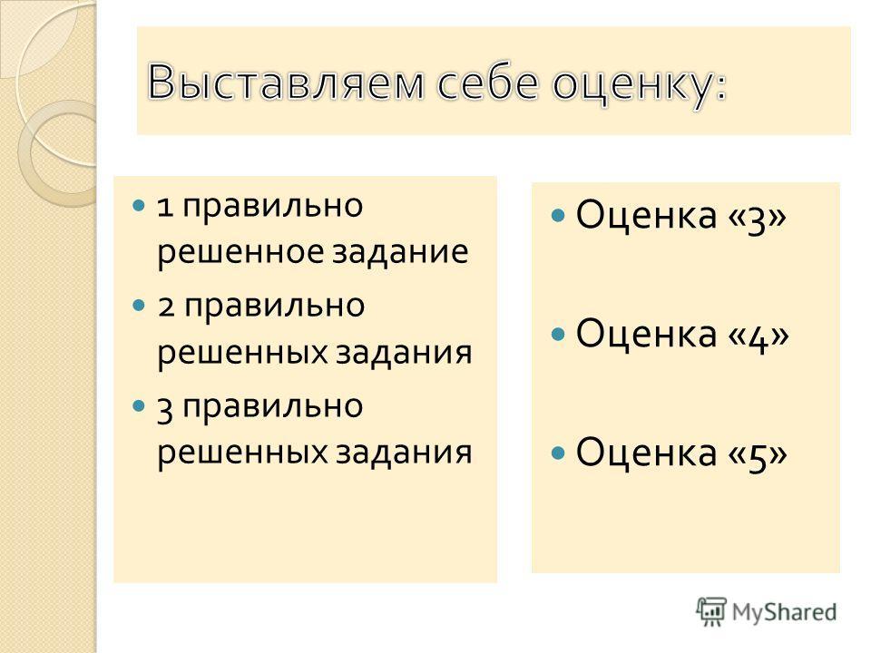 1 правильно решенное задание 2 правильно решенных задания 3 правильно решенных задания Оценка «3» Оценка «4» Оценка «5»