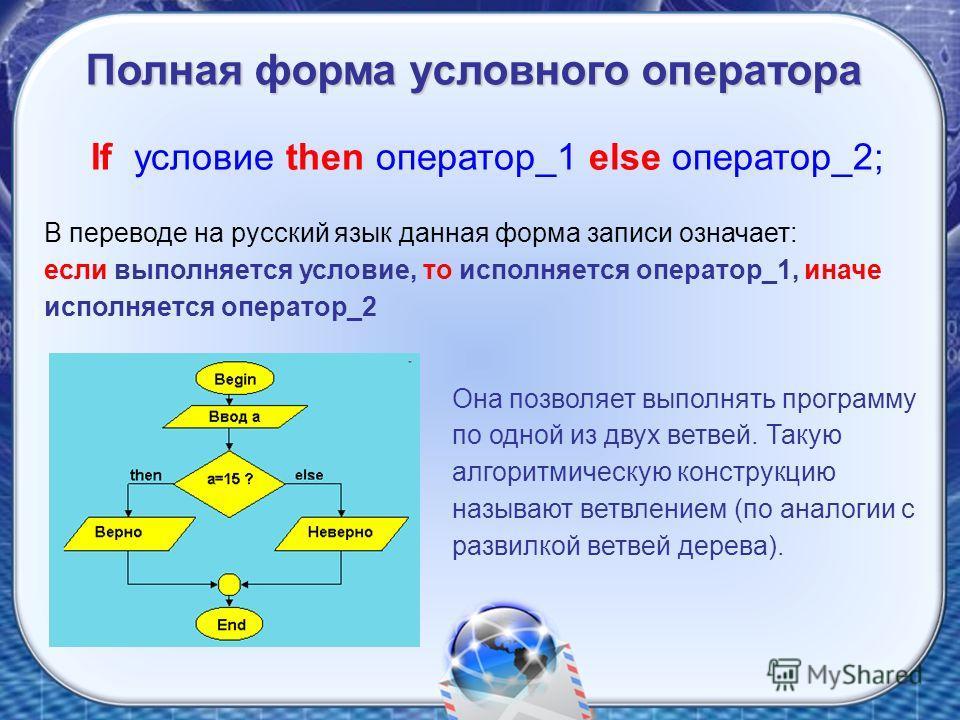 If условие then оператор_1 else оператор_2; В переводе на русский язык данная форма записи означает: если выполняется условие, то исполняется оператор_1, иначе исполняется оператор_2 Она позволяет выполнять программу по одной из двух ветвей. Такую ал