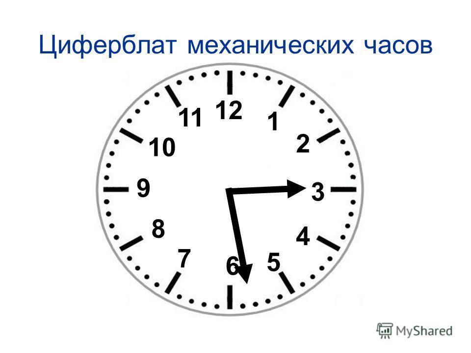 Циферблат механических часов 12 1 2 3 4 6 5 7 8 9 10 11