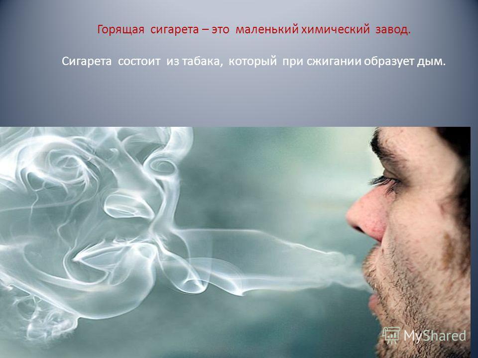 Горящая сигарета – это маленький химический завод. Сигарета состоит из табака, который при сжигании образует дым.