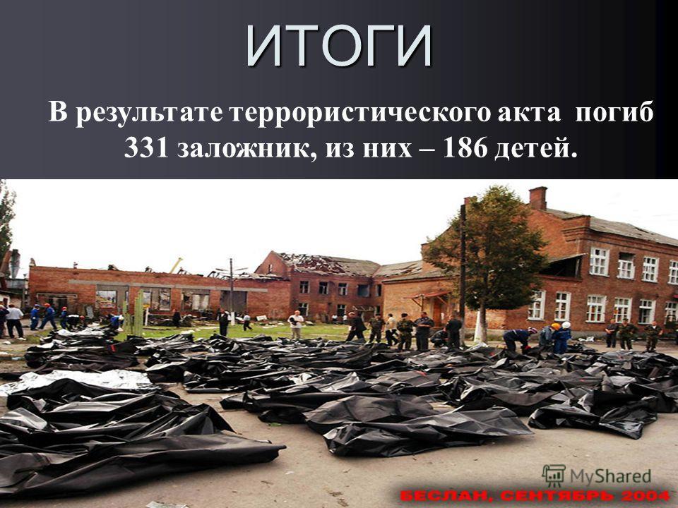ИТОГИ В результате террористического акта погиб 331 заложник, из них – 186 детей.