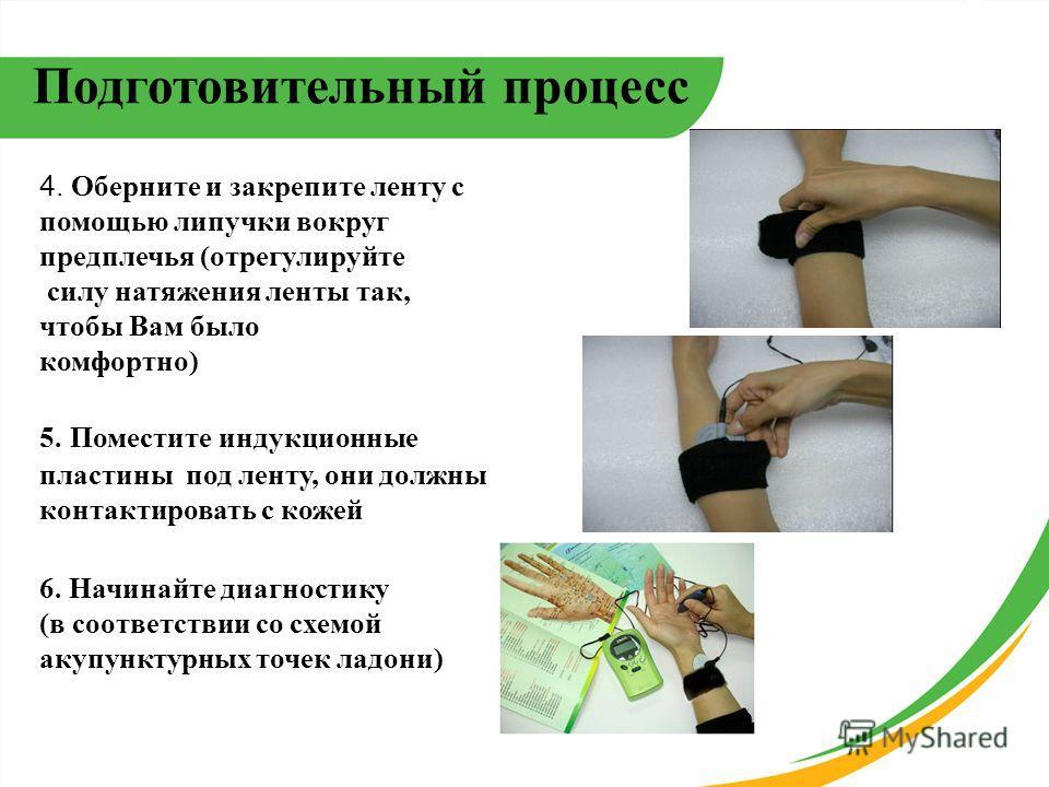 4. Оберните и закрепите ленту с помощью липучки вокруг предплечья (отрегулируйте силу натяжения ленты так, чтобы Вам было комфортно) 5. Поместите индукционные пластины под ленту, они должны контактировать с кожей 6. Начинайте диагностику (в соответст