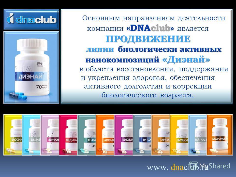 www. dnaclub.ru «DNAclub» ПРОДВИЖЕНИЕ Основным направлением деятельности компании «DNAclub» является ПРОДВИЖЕНИЕ линии биологически активных нано композиций «Диэнай» в области восстановления, поддержания и укрепления здоровья, обеспечения активного д