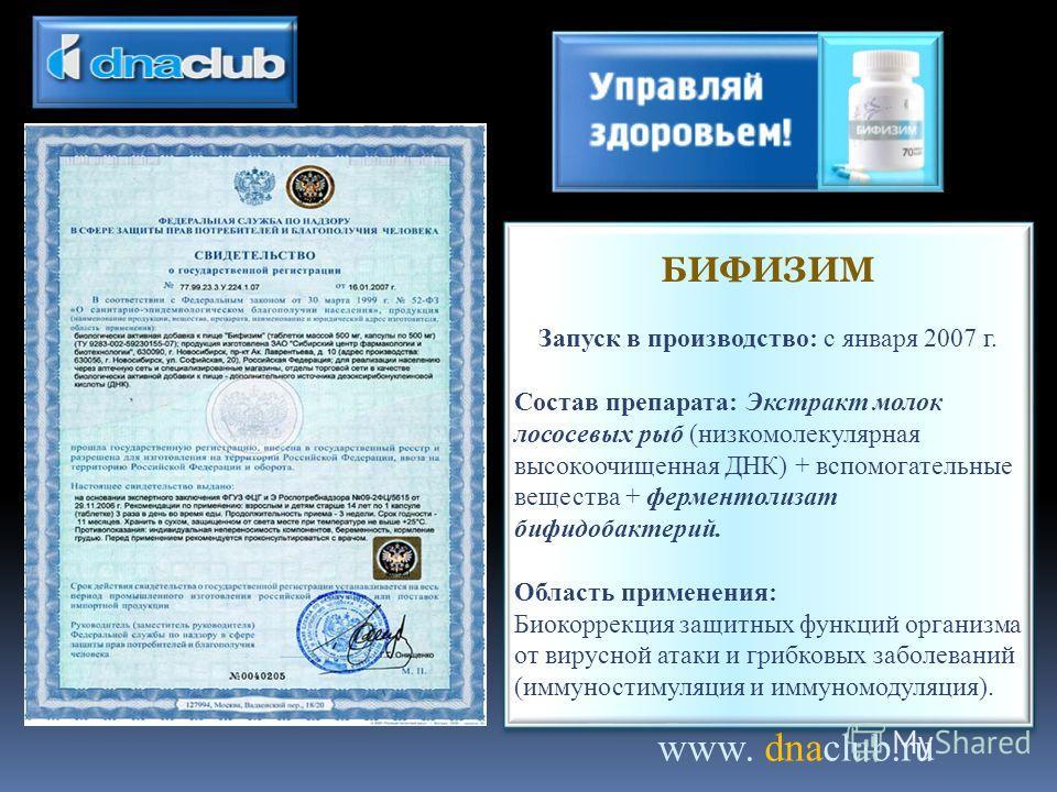 www. dnaclub.ru БИФИЗИМ Запуск в производство: с января 2007 г. Состав препарата: Экстракт молок лососевых рыб (низкомолекулярная высокоочищенная ДНК) + вспомогательные вещества + ферментолизат бифидобактерий. Область применения: Биокоррекция защитны