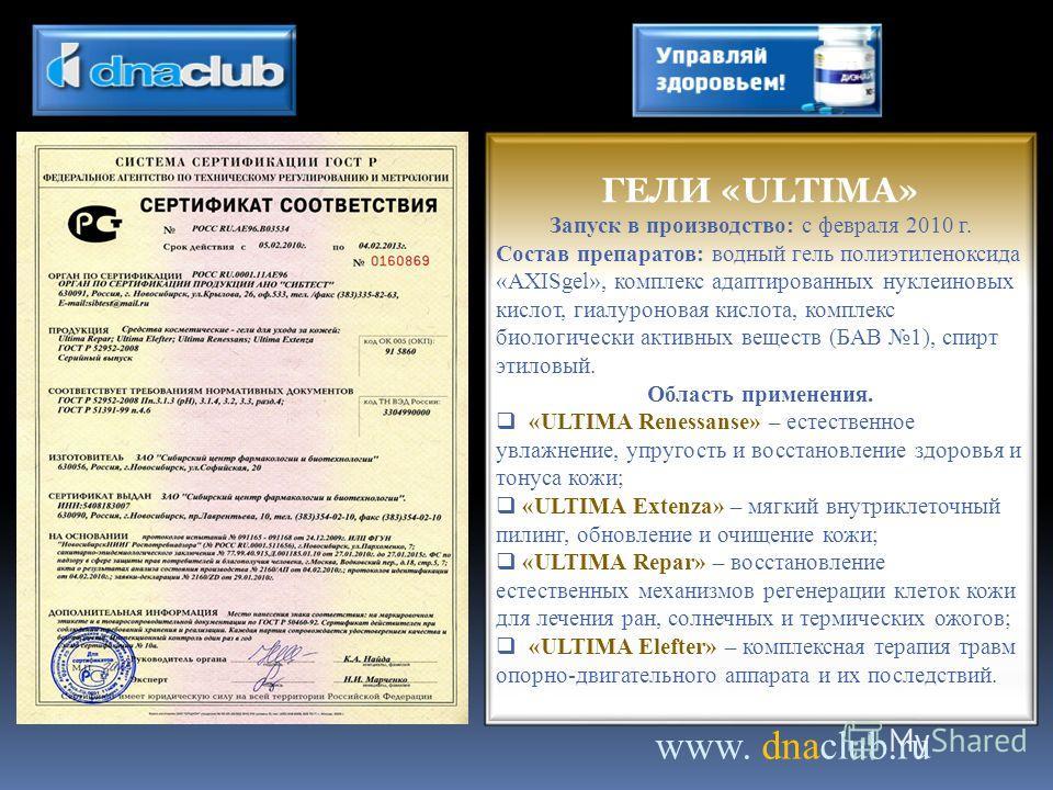 www. dnaclub.ru ГЕЛИ «ULTIMA» Запуск в производство: с февраля 2010 г. Состав препаратов: водный гель полиэтиленоксида «AXISgel», комплекс адаптированных нуклеиновых кислот, гиалуроновая кислота, комплекс биологически активных веществ (БАВ 1), спирт
