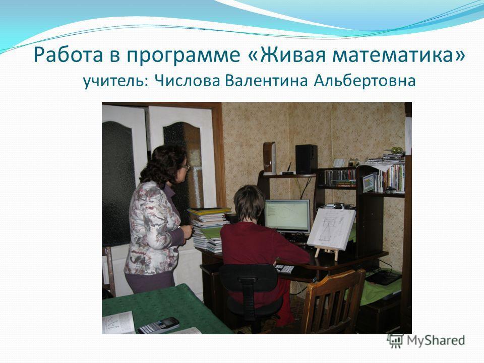Работа в программе «Живая математика» учитель: Числова Валентина Альбертовна