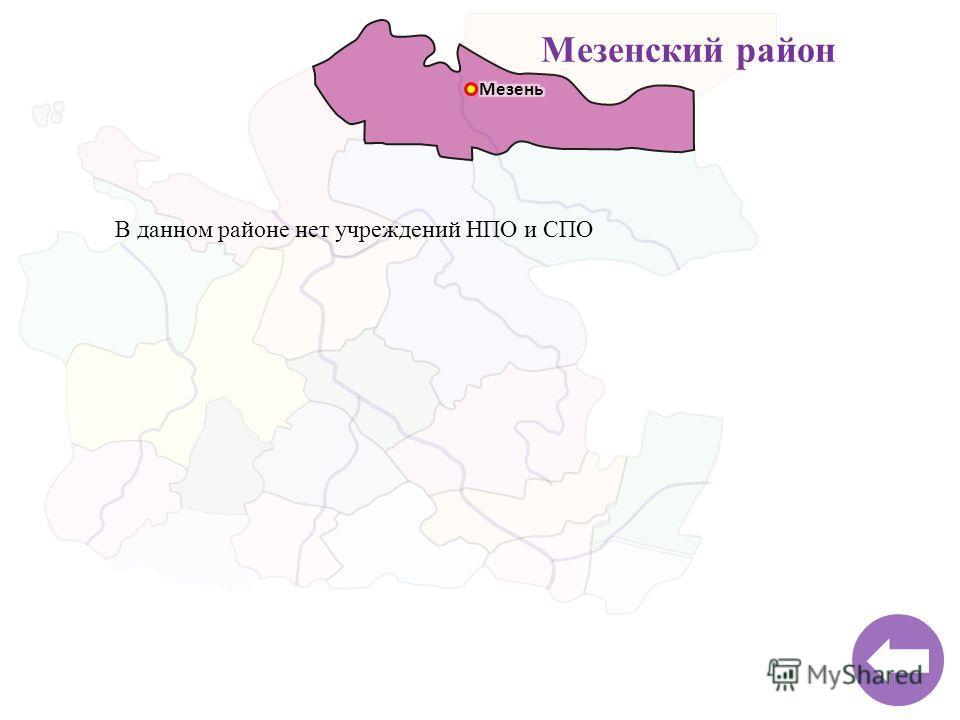 Мезенский район В данном районе нет учреждений НПО и СПО