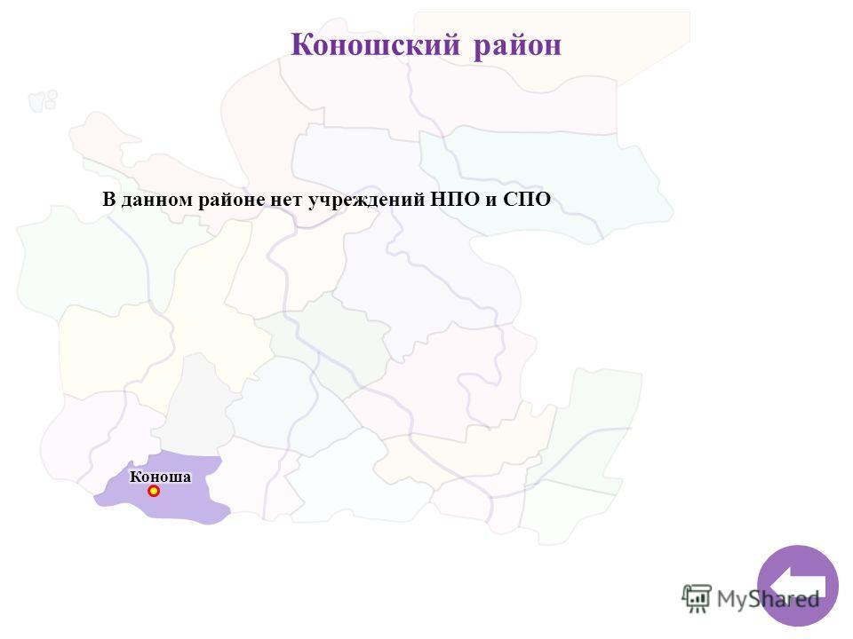 Коношский район В данном районе нет учреждений НПО и СПО