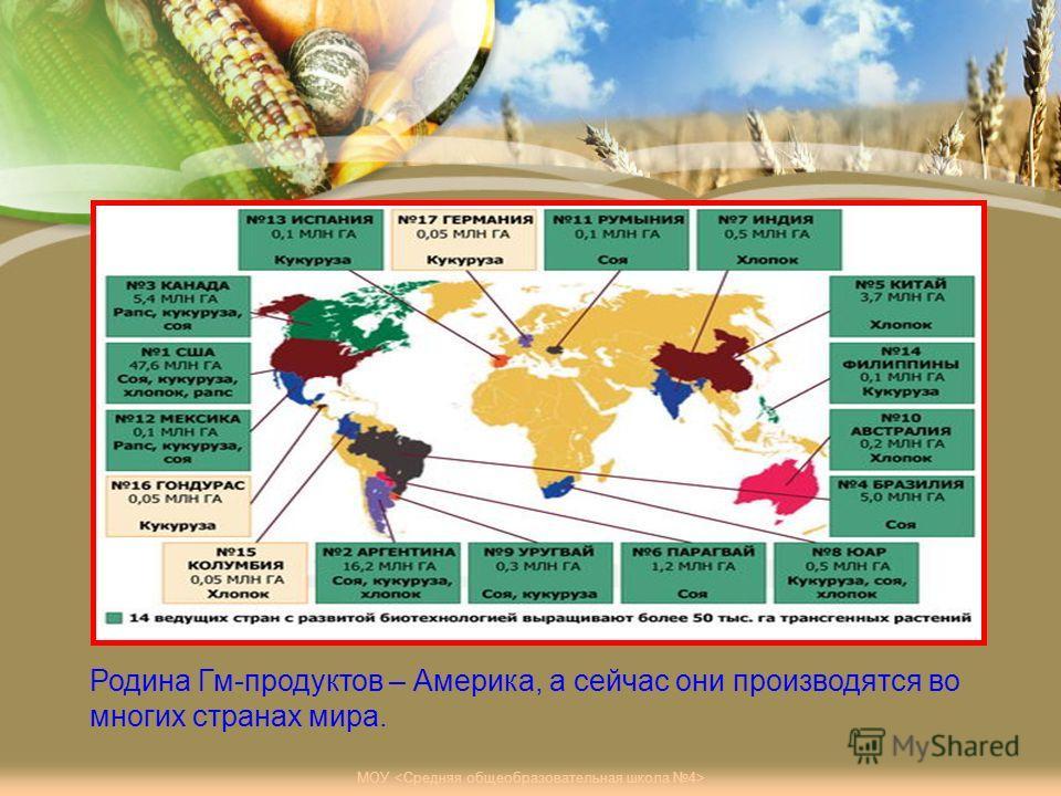 Родина Гм-продуктов – Америка, а сейчас они производятся во многих странах мира.