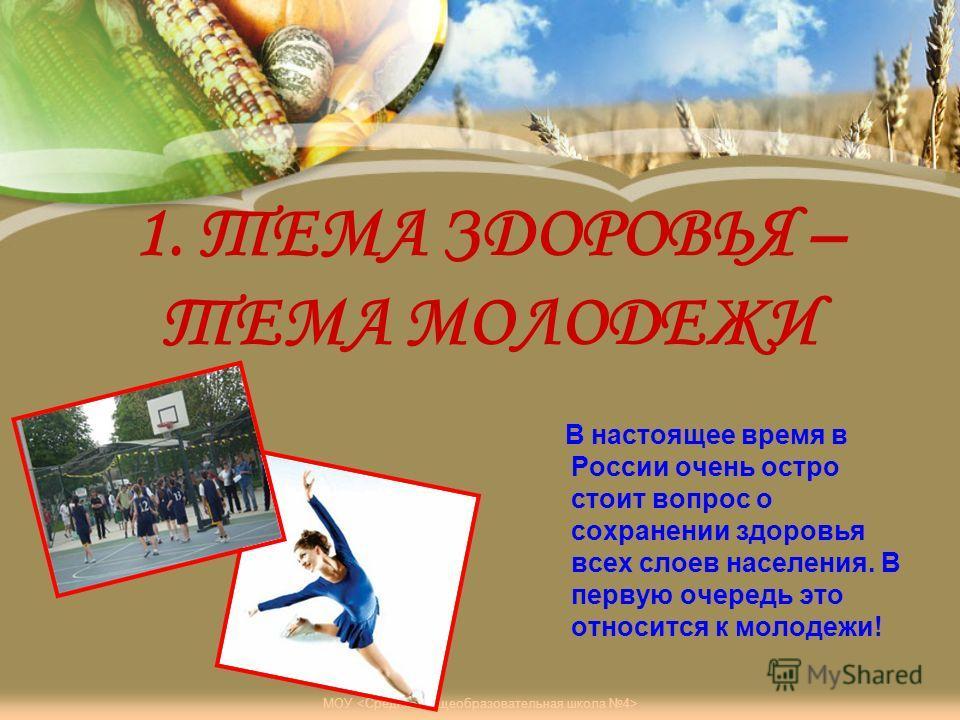 МОУ 1. ТЕМА ЗДОРОВЬЯ – ТЕМА МОЛОДЕЖИ В настоящее время в России очень остро стоит вопрос о сохранении здоровья всех слоев населения. В первую очередь это относится к молодежи!