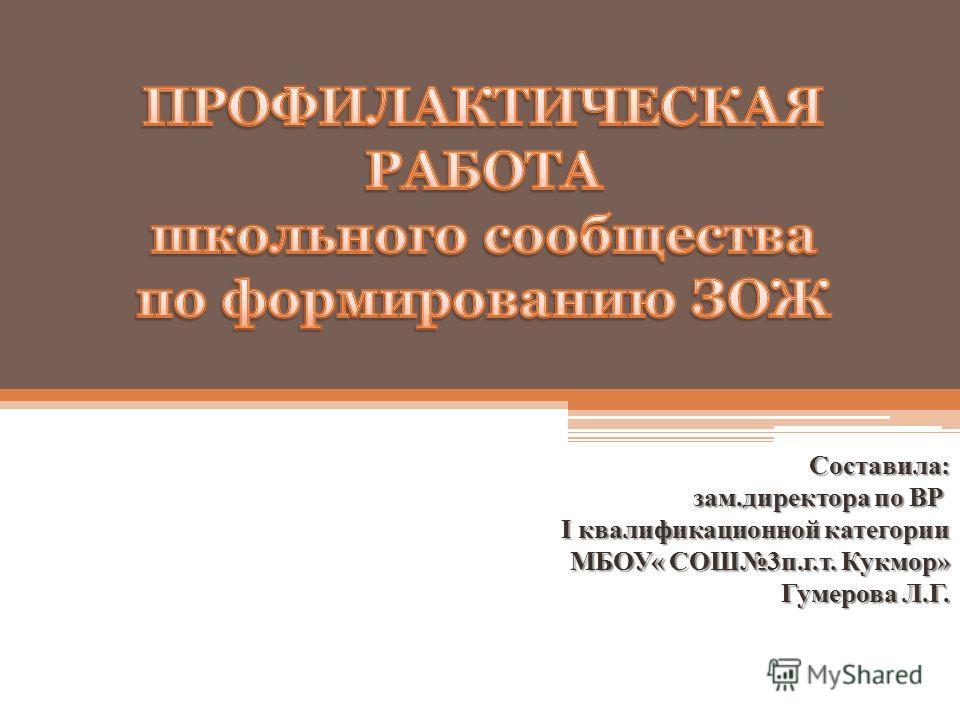 Составила: зам.директора по ВР I квалификационной категории МБОУ« СОШ3 п.г.т. Кукмор» Гумерова Л.Г.