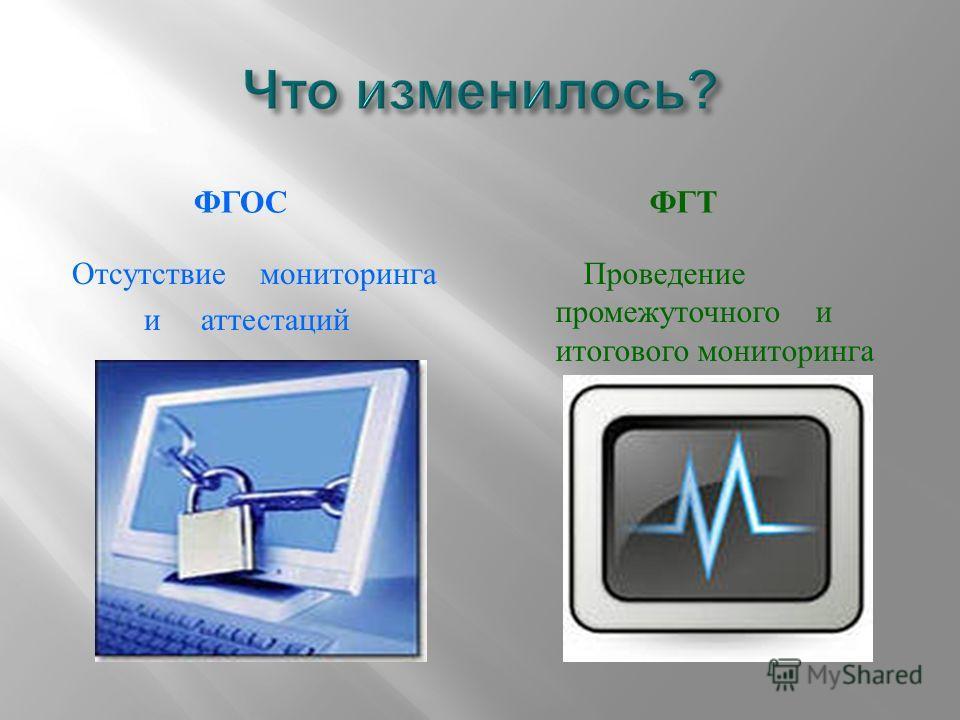 ФГОС ФГТ Отсутствие мониторинга и аттестаций Проведение промежуточного и итогового мониторинга