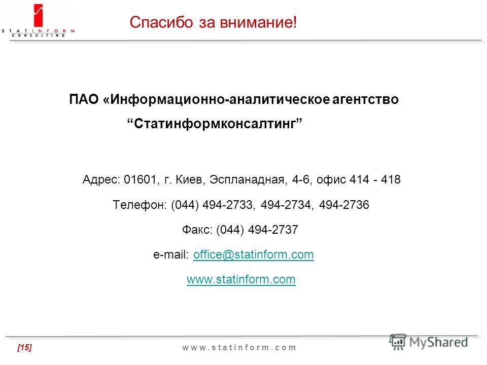 Статинформконсалтинг, 2012 [15] ПАО «Информационно-аналитическое агентство Статинформконсалтинг Адрес: 01601, г. Киев, Эспланадная, 4-6, офис 414 - 418 Телефон: (044) 494-2733, 494-2734, 494-2736 Факс: (044) 494-2737 e-mail: office@statinform.comoffi