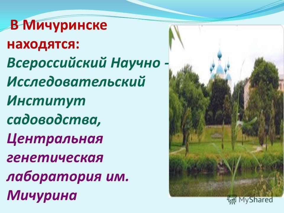 В Мичуринске находятся: Всероссийский Научно - Исследовательский Институт садоводства, Центральная генетическая лаборатория им. Мичурина