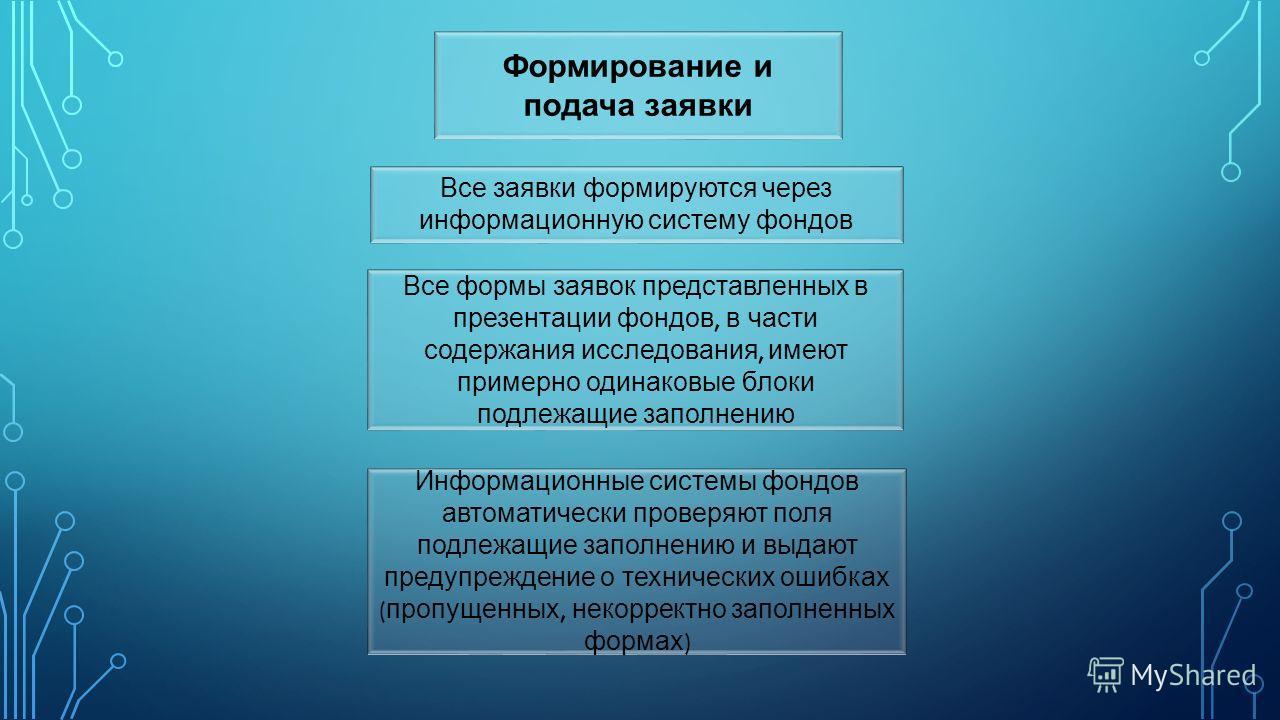 Формирование и подача заявки Все заявки формируются через информационную систему фондов Все формы заявок представленных в презентации фондов, в части содержания исследования, имеют примерно одинаковые блоки подлежащие заполнению Информационные систем
