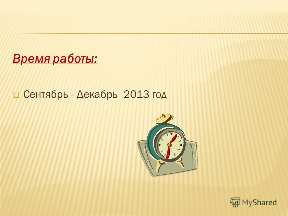 Время работы: Сентябрь - Декабрь 2013 год