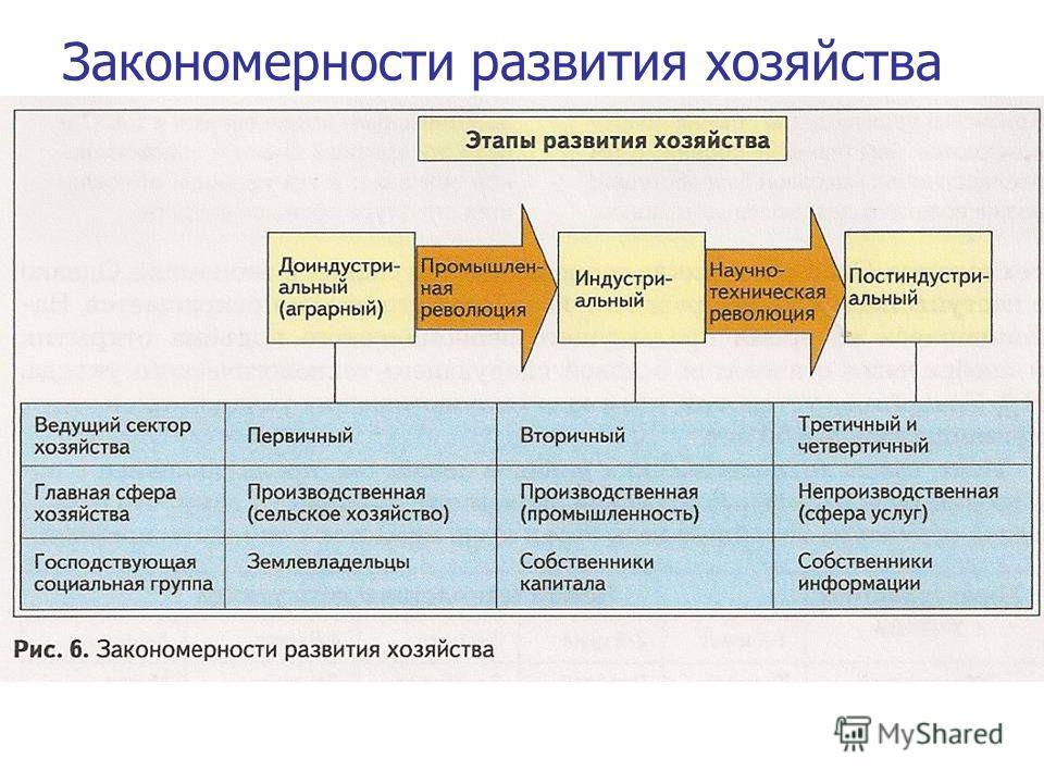 Закономерности развития хозяйства