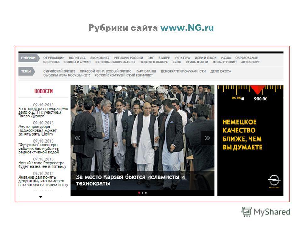 Рубрики сайта www.NG.ru