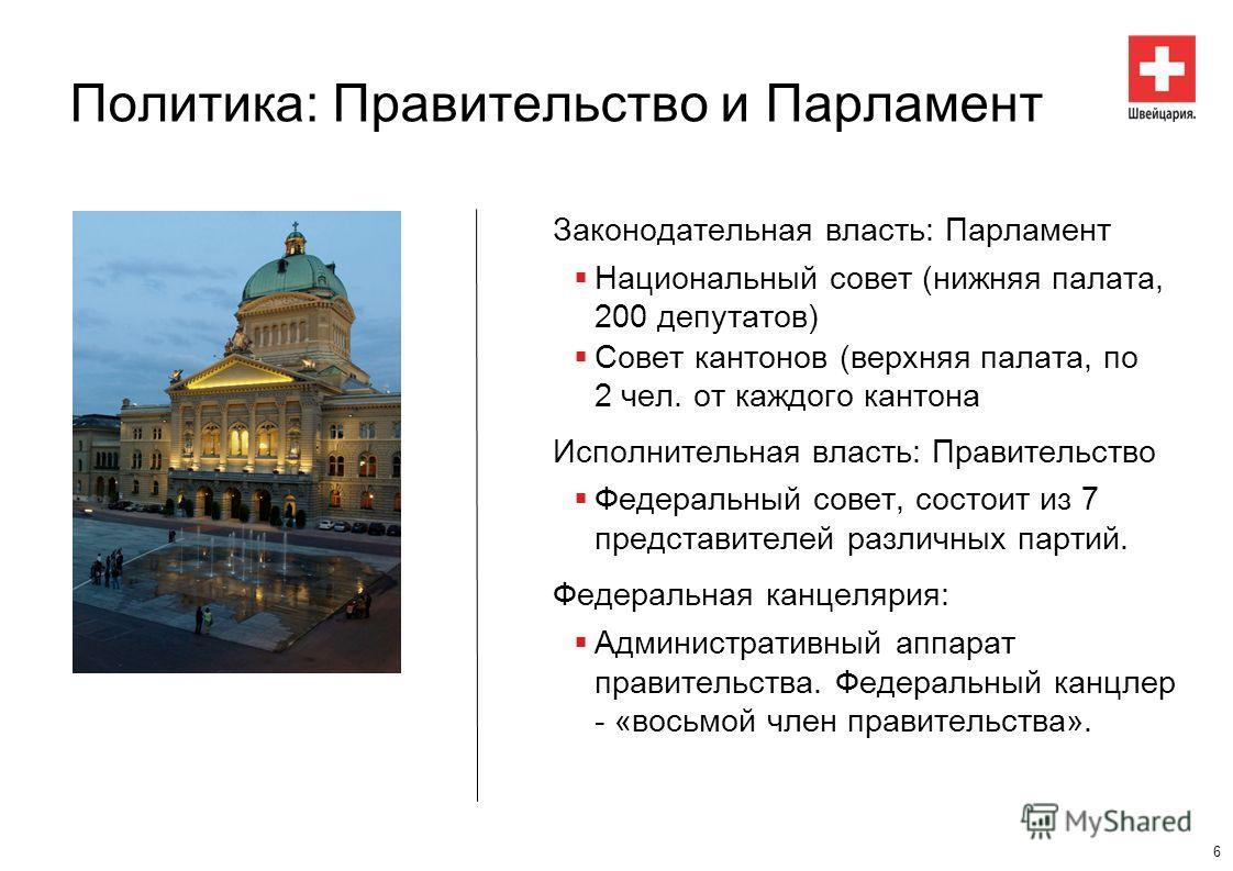 Политика: Правительство и Парламент Законодательная власть: Парламент Национальный совет (нижняя палата, 200 депутатов) Совет кантонов (верхняя палата, по 2 чел. от каждого кантона Исполнительная власть: Правительство Федеральный совет, состоит из 7
