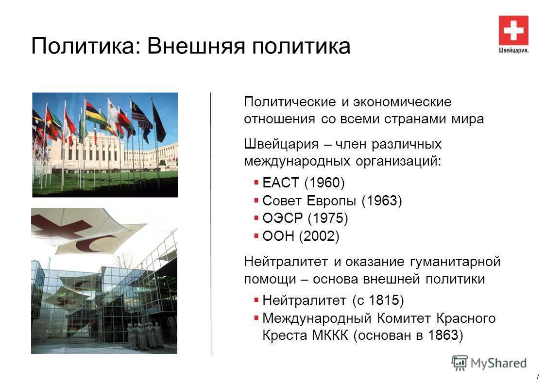 Политика: Внешняя политика Политические и экономические отношения со всеми странами мира Швейцария – член различных международных организаций: ЕАСТ (1960) Совет Европы (1963) ОЭСР (1975) ООН (2002) Нейтралитет и оказание гуманитарной помощи – основа