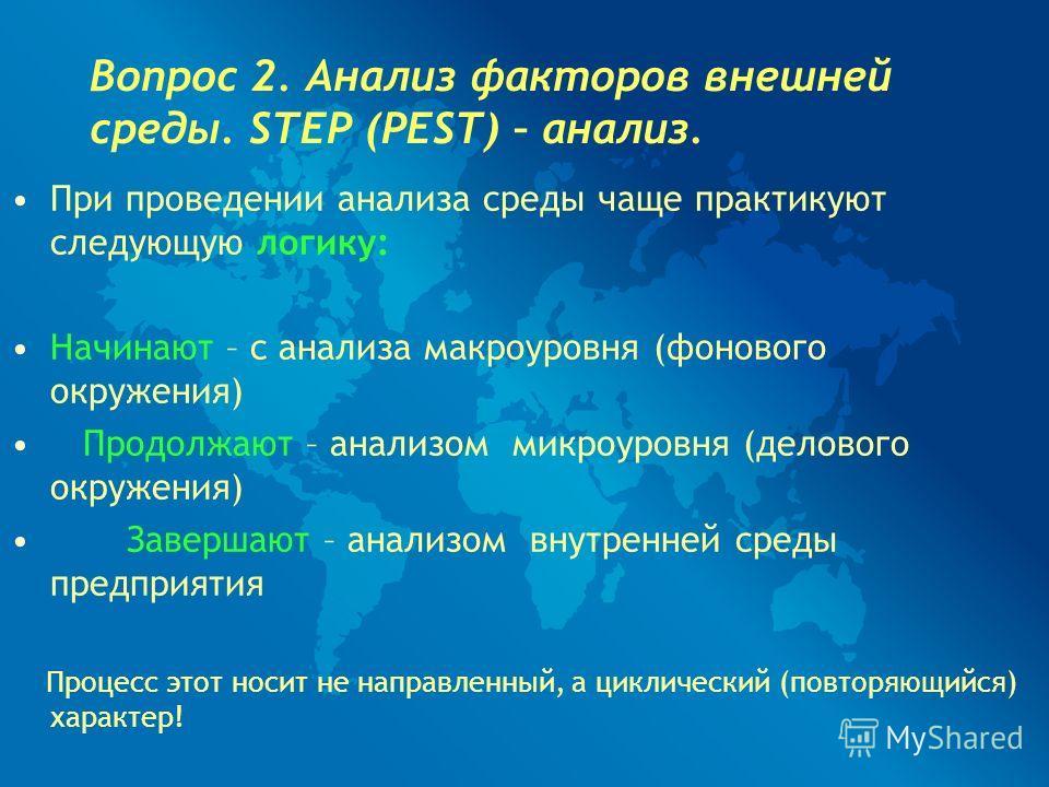 Вопрос 2. Анализ факторов внешней среды. STEP (PEST) – анализ. При проведении анализа среды чаще практикуют следующую логику: Начинают – с анализа макроуровня (фонового окружения) Продолжают – анализом микроуровня (делового окружения) Завершают – ана