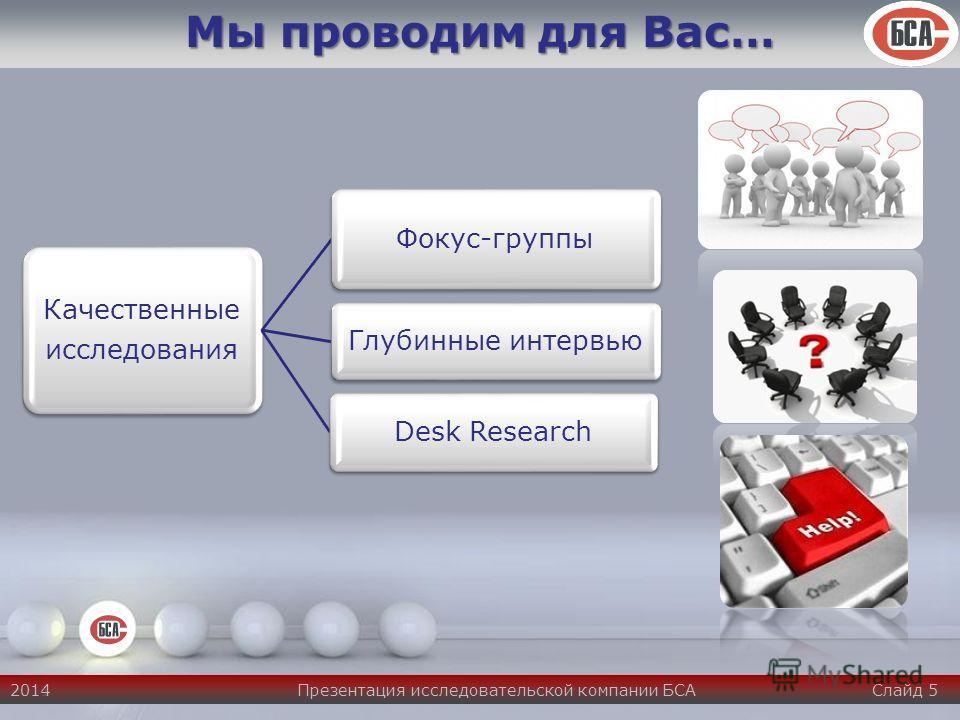 Powerpoint Templates Page 6 Мы проводим для Вас… 2011 Презентация исследовательской компании БСА 2011 Презентация исследовательской компании БСА Слайд 32014 Презентация исследовательской компании БСА Слайд 5 Качественные исследования Фокус-группы Глу