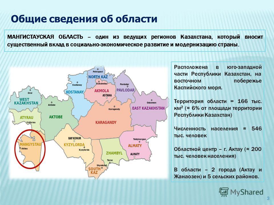МАНГИСТАУСКАЯ ОБЛАСТЬ – один из ведущих регионов Казахстана, который вносит существенный вклад в социально-экономическое развитие и модернизацию страны. Общие сведения об области 3