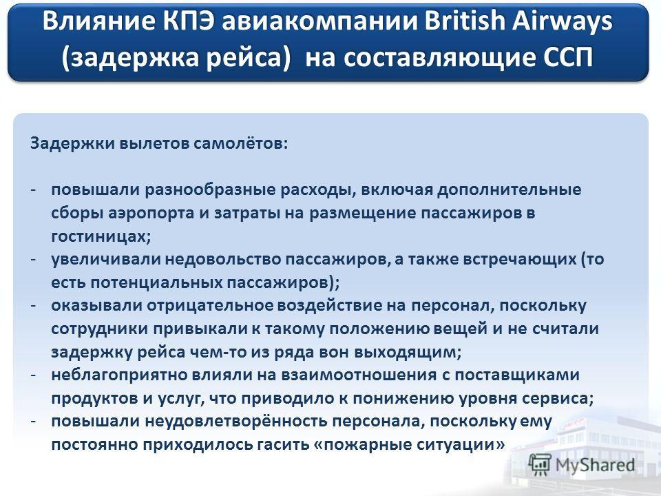 Влияние КПЭ авиакомпании British Airways (задержка рейса) на составляющие ССП Задержки вылетов самолётов: -повышали разнообразные расходы, включая дополнительные сборы аэропорта и затраты на размещение пассажиров в гостиницах; -увеличивали недовольст