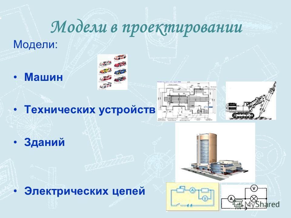 Модели в проектировании Модели: Машин Технических устройств Зданий Электрических цепей