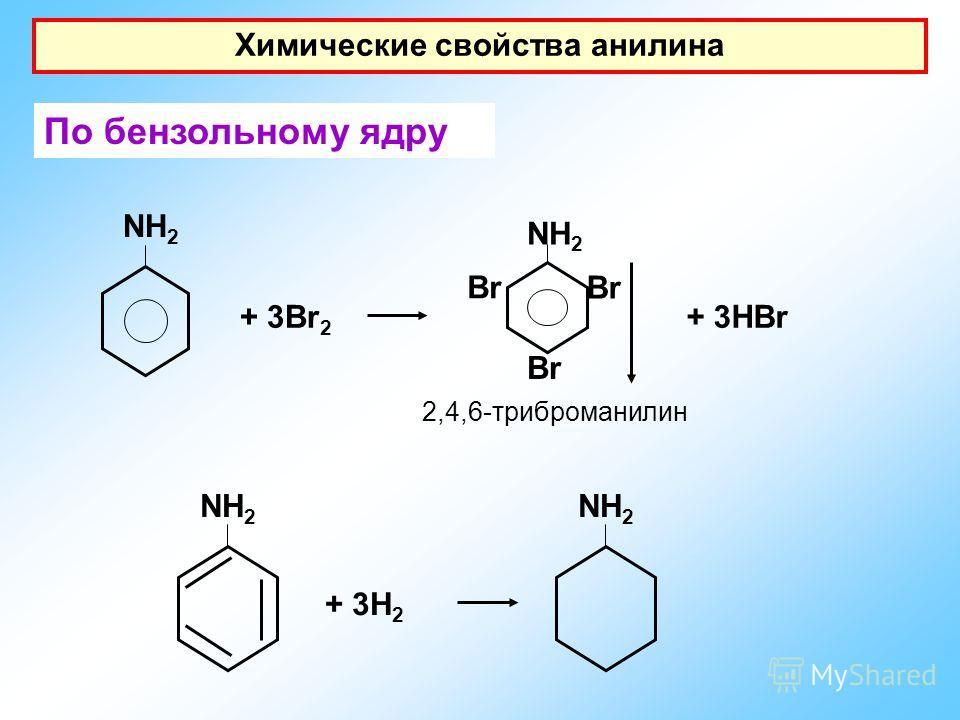 Химические свойства анилина По бензольному ядру NH 2 + 3Br 2 NH 2 Br + 3HBr 2,4,6-триброманилин + 3H 2 NH 2