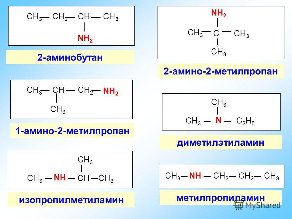 СН 3 СН 2 СНСН 3 NН2NН2 2-аминобутан СН 3 СНСН 2 СН 3 NН2NН2 1-амино-2-метилпропан СН 3 С NН2NН2 2-амино-2-метилпропан N СН 3 С2Н5С2Н5 диметилэтиламин NНNН СН 3 СНСН 3 изопропил метиламин СН 3 NНNНСН 2 СН 3 метилпропиламин СН 2 СН 3