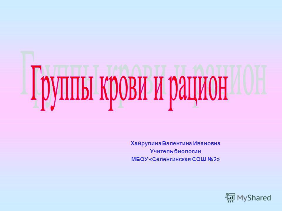 Хайрулина Валентина Ивановна Учитель биологии МБОУ «Селенгинская СОШ 2»