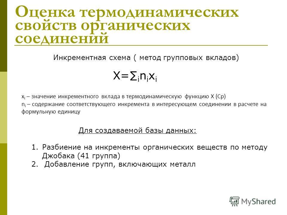 Оценка термодинамических свойств органических соединений 1. Разбиение на инкременты органических веществ по методу Джобака (41 группа) 2. Добавление групп, включающих металл Инкрементная схема ( метод групповых вкладов) X=inixiX=inixi x i – значение