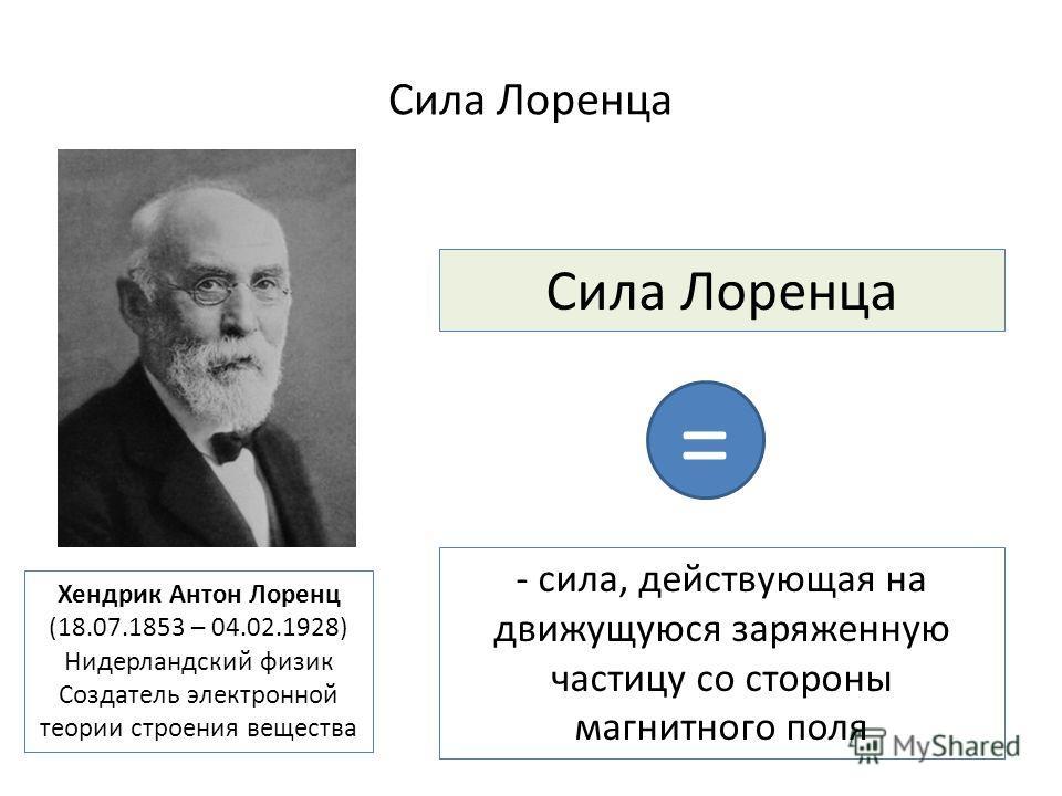 Сила Лоренца - сила, действующая на движущуюся заряженную частицу со стороны магнитного поля Хендрик Антон Лоренц (18.07.1853 – 04.02.1928) Нидерландский физик Создатель электронной теории строения вещества =