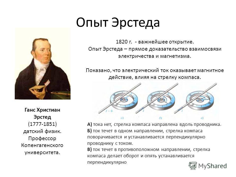 Опыт Эрстеда Ганс Христиан Эрстед (1777-1851) датский физик. Профессор Копенгагенского университета. 1820 г. - важнейшее открытие. Опыт Эрстеда – прямое доказательство взаимосвязи электричества и магнетизма. Показано, что электрический ток оказывает