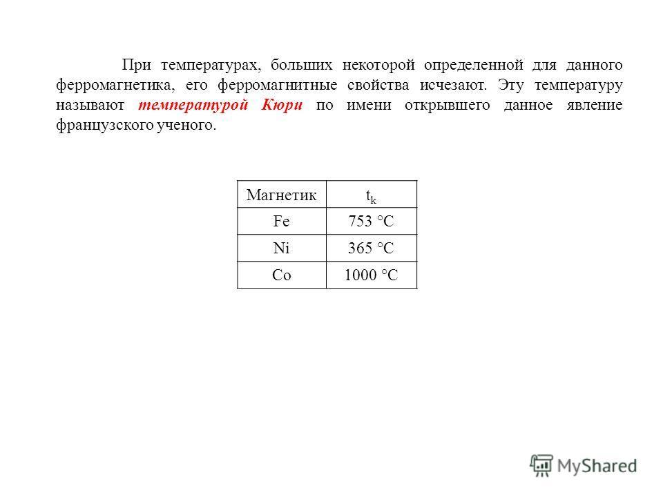 При температурах, больших некоторой определенной для данного ферромагнетика, его ферромагнитные свойства исчезают. Эту температуру называют температурой Кюри по имени открывшего данное явление французского ученого. Магнетикtktk Fe753 °С Ni365 °С Co10