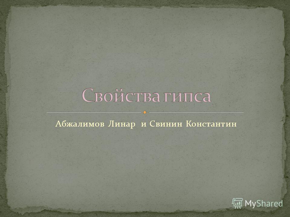 Абжалимов Линар и Свинин Константин